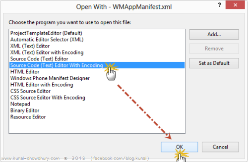 Open WMAppManifest.xml with Source Editor