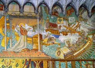 San Pio V ve milagrosamente la victoria de Lepanto contra los turcos