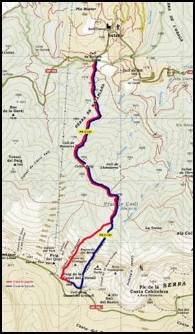 Mapa Canal de l'Ordiguer-Cristall