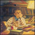 Anderson_Young boy taking a break from studying_1950