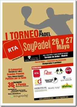 I Torneo RTA-SoyPádel 26 y 27 de mayo en el Club de Pádel Soto Torrejón de Ardoz.