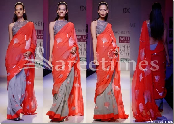 Nachiket_Barve_Red_Grey_Half_and_Half_Saree