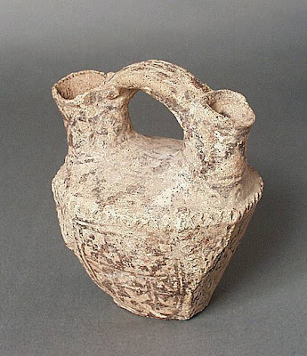 Vessel Greater Iran (Afghanistan) Vessel, 6th-8th century Ceramic; Vessel, Ceramic, Height: 6 5/16 in. (16 cm); Width: 3 15/16 in. (10 cm); Length: 5 3/8 in. (13.5 cm) Gift of Kate Fitz Gibbon and Andrew Hale (AC1997.253.11) Art of the Middle East: Islamic Department.