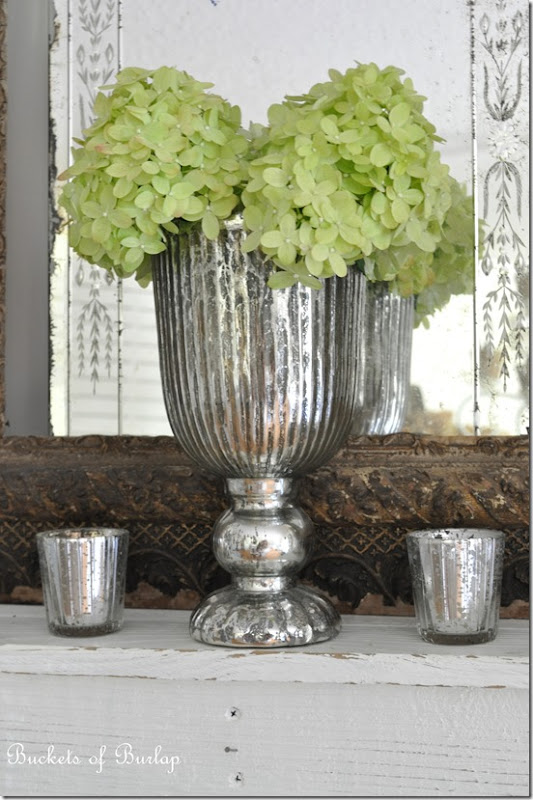 Dining room mercury glass vase