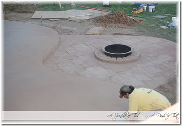 Stamped concrete patio stamping upper section {A Sprinkle of This . . . . A Dash of That}