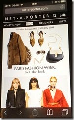 Netaporter Home Page on Iphone Responsive Web Design