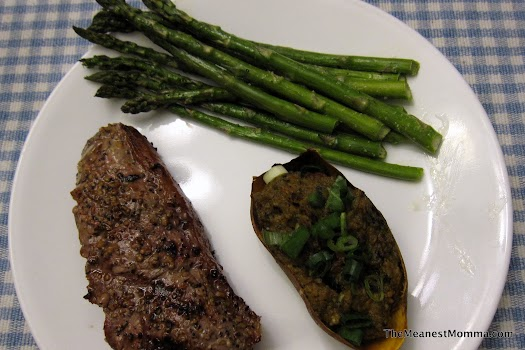 New York Strip Steak, Sweet Potatoes & Asparagus