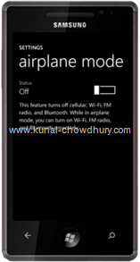 WP7 Settings Page - Airplane Mode