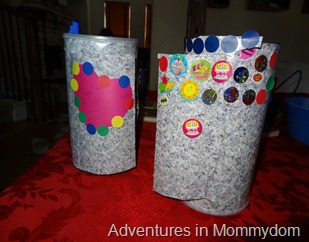 reuse oatmeal containers as castles