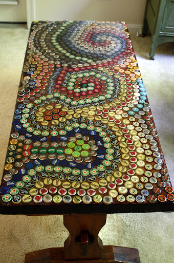 "21"" x 48"" (4ft) Bottle Cap Coffee Table"