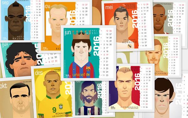 Download kalender 2016 gratis gambar kartun pemain bola