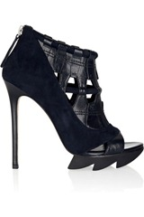 Camilla Skovgaard Cutout suede and leather ankle boots