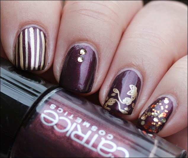 Autumn Nail Art Herbst Nageldesign Mix Match Skittle Purple 01