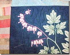 Sue Reno, Bleeding Heart, art quilt, detail image