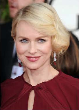 Oh, Naomi Watts--she always looks so elegant. What I'm loving most? Her sophisticated, rose lipstick and warm cheeks, both of which pull color inspiration from her garnet gown. Try Chanel Luminous Intense Lip Colour in Determinee and Chanel Powder Blush in Rose Petale. Photo courtesy of Chanel.