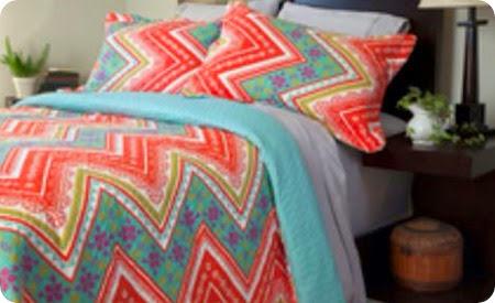 aqua and coral bedding