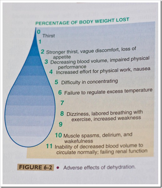 Dehydration percentage in adults