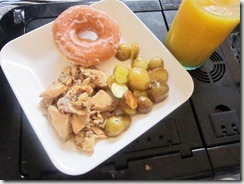 pink salmon, new potatoes, original glazed donut and oj, 240baon