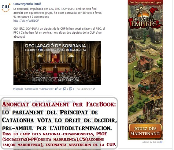 Anóncia del Parlament de Catalonha
