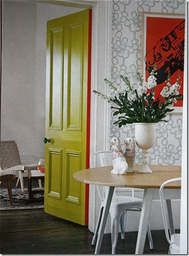 green interior door via apartment therapy