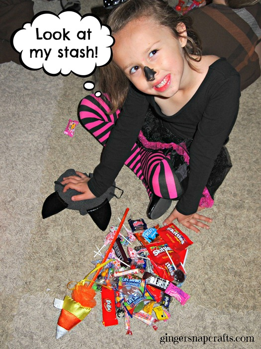 counting the candy on Halloween