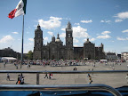 Another view of the Cathedral, one of the largest in the Western Hemisphere, along with a crowd milling about the Zocalo