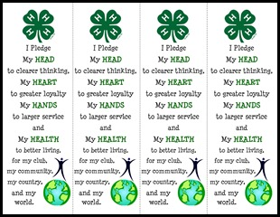 4H Pledge Bookmark