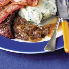 Calves' Liver And Bacon With Onion Gravy And Parsley Mash