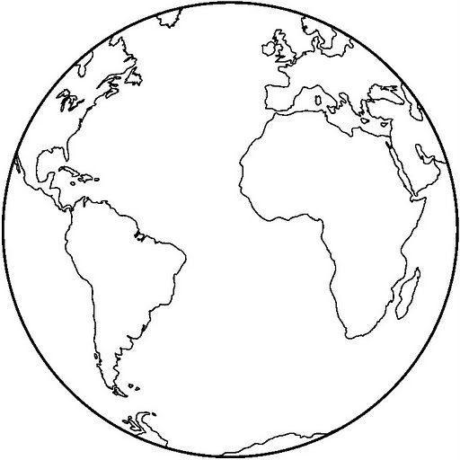 Line Drawing Globe : Planet earth coloring page