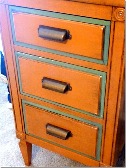 friday feature--two tone orange antiqued desk from life we live 4 blog