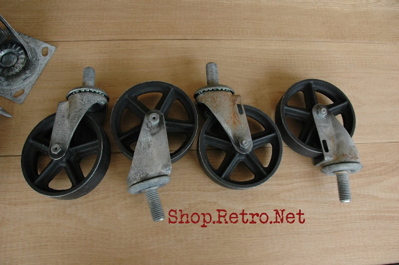 casters 5 inch vintage industrial.jpg - Antique Casters Vintage Industrial Furniture