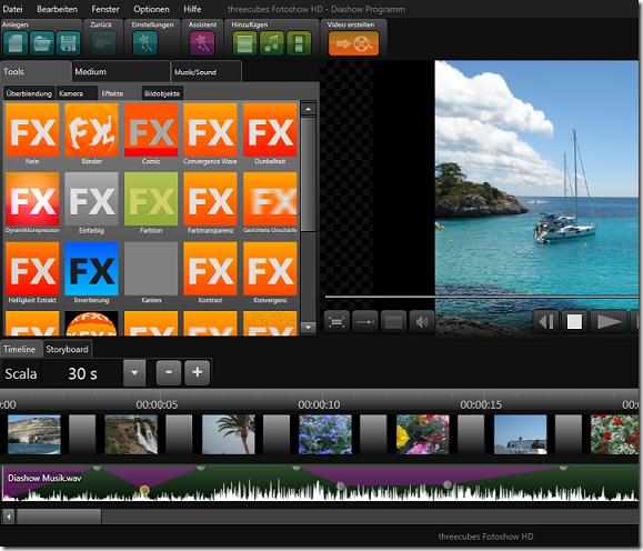 Diashow mit threecubes Fotoshow HD erstellen