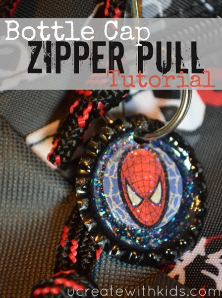 Awesome Bottle Cap Zipper Pull Tutorial ucreatewithkids.com