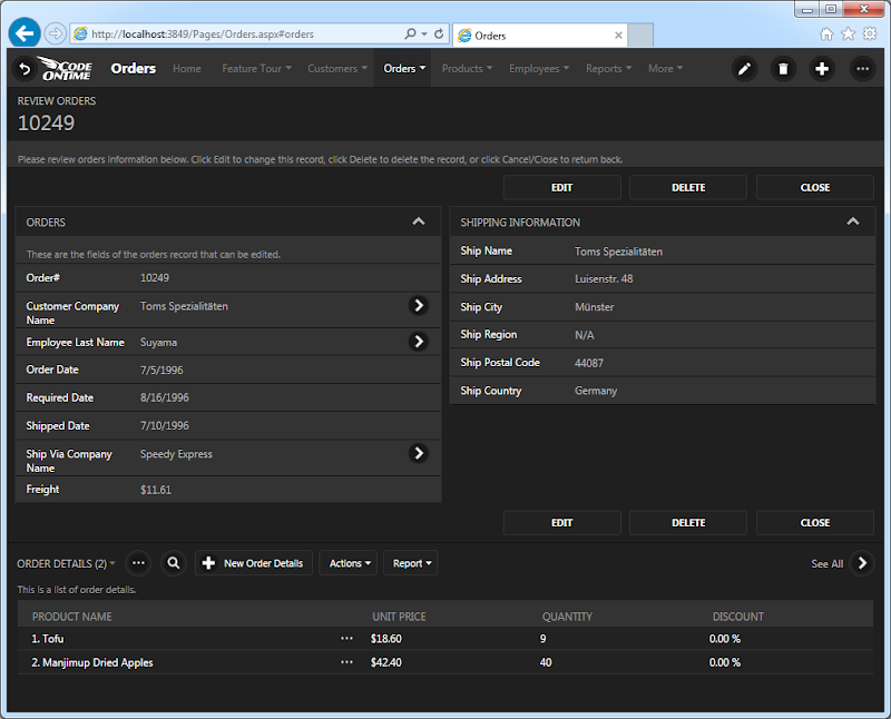 Master-detail form view in a Touch UI app created with Code On Time app generator.