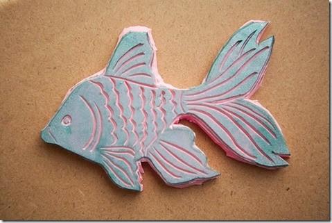 Handcarved Goldfish Stamp2