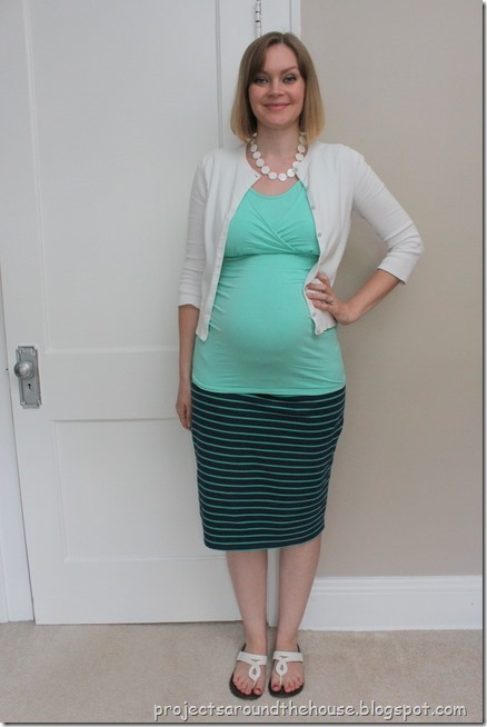 blue and green striped skirt, mint top, white cardigan
