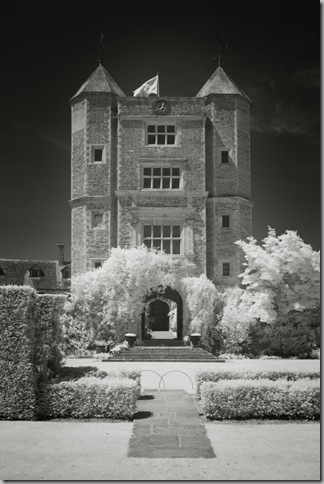 Infrared image of the Elizabethan tower at Sissinghurst Castle Garden in Kent
