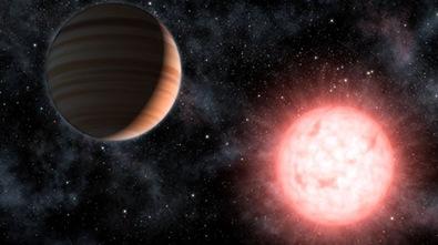 ilustração do exoplaneta VB 10b ao redor de sua estrela
