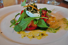 image of Summer tomato salad ... paired with Lost Abbey Carnivale Saison Ale during the Lost Abbey / Port Brewing Dinner at Art of the Table courtesy of our Flickr page