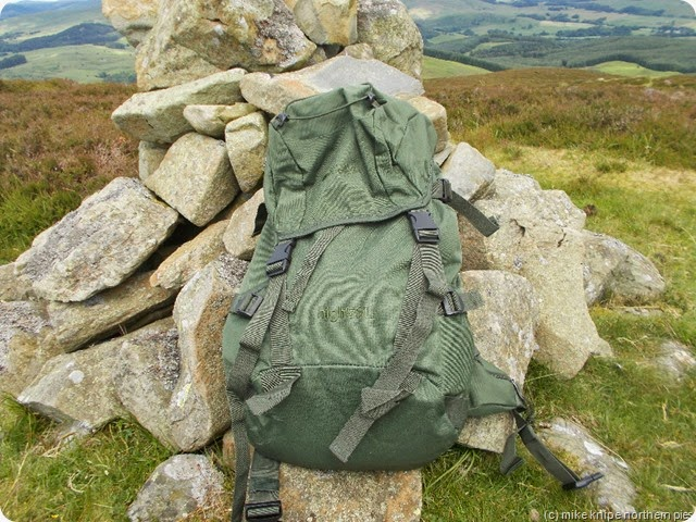 High 50L pack on Keir Hills