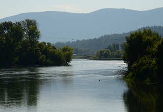 some haze from fires along the Kootenay River in Bonners Ferry