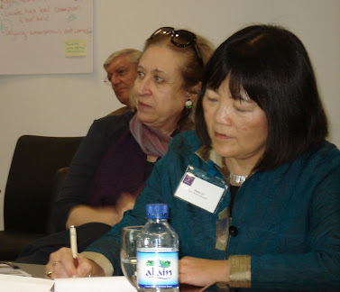 (From front) Diane Yu from New York University, Soukeina Bouraoui from the Centre of Arab Women for Training and Research and Larry Fabian from the NYU Abu Dhabi Institute participate in a discussion on 'Leadership for Public Wellbeing in the Middle East.'
