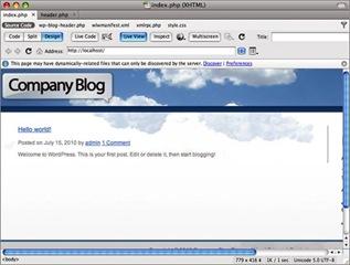 Afficher le logo pour personnaliser un thème Wordpress avec Dreamweaver