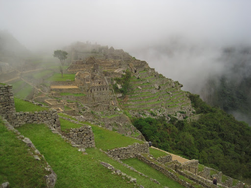 Our first sight of Macchu Picchu - covered in morning clouds
