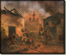 Les soldats ivres dans Moscou qui brule