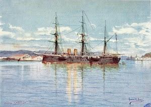 Cuadro de Hernández Monjo que muestra la CASTILLA en el puerto de Barcelona. Del libro LA ARMADA ESPAÑOLA. Del año 1898
