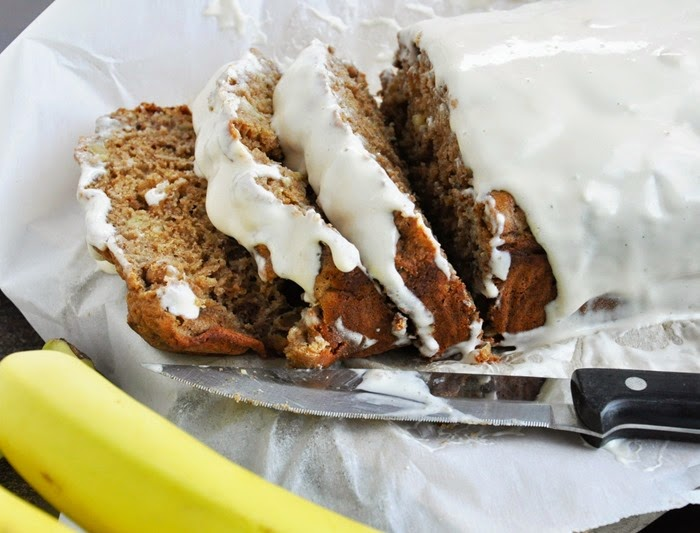 Spiced Rum Banana Nut Bread w.Cream Cheese Glaze (25)