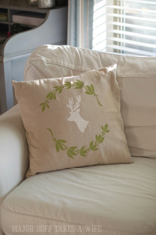 Deer with Antlers stencil. Looking for a way to bring Creativity into your Holiday Decor? Use easy to find items like pillow covers or dish towels, along with stencils to decorate your home for the Holidays. Enjoy crafting your own decorations this Christmas! #Christmas #Holidays #crafts #HolidayIdeas