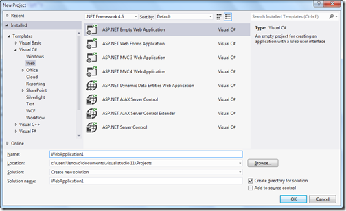 Creating asp.net web forms application for knockout demo