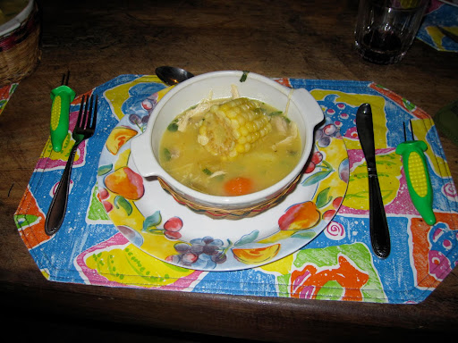 Yum!  This delicious soup called Ajiaco was made by our very talented and ever-helpful housekeeper, Mari.